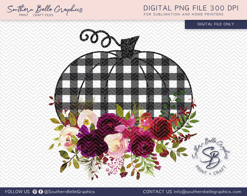 Buffalo Plaid Floral Pumpkins PNG File