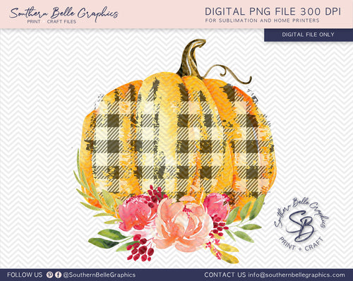 Watercolor Plaid Floral Pumpkins PNG File