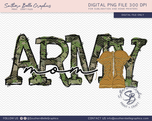 Army Mom Hand Drawn PNG File