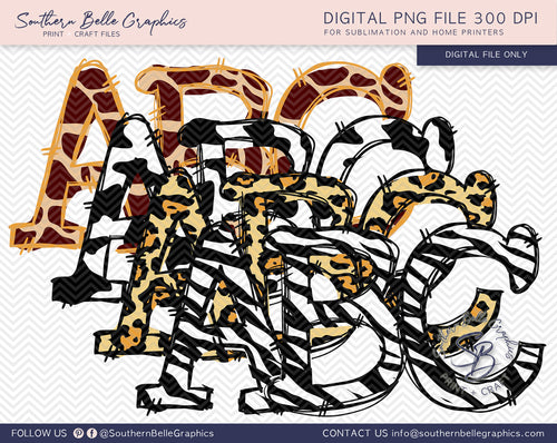 Doodle Alphabet Hand Drawn PNG Files, Animal Bundle