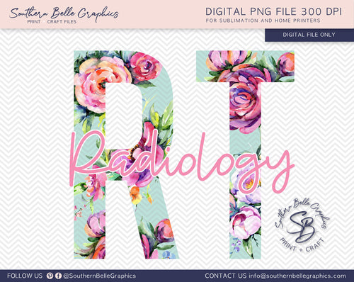 Radiology Technician - RT Floral PNG File