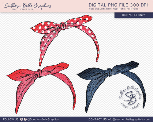 Bandana Hairtie Bundle 5 Hand Drawn PNG File