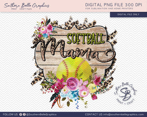 Softball Mama, Floral PNG File