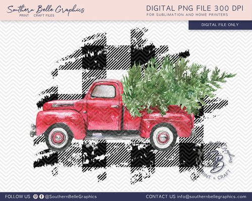 Vintage Red Truck - Watercolor Christmas Truck PNG File