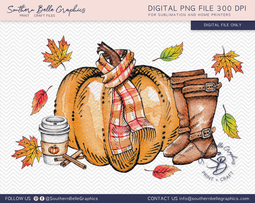 Watercolor Fall Pumpkins PNG File