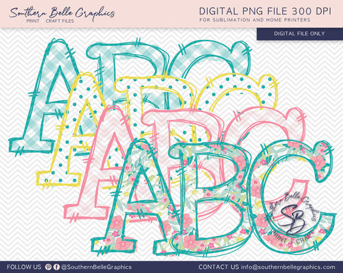 Doodle Alphabet Hand Drawn PNG Files, Picnic Bundle