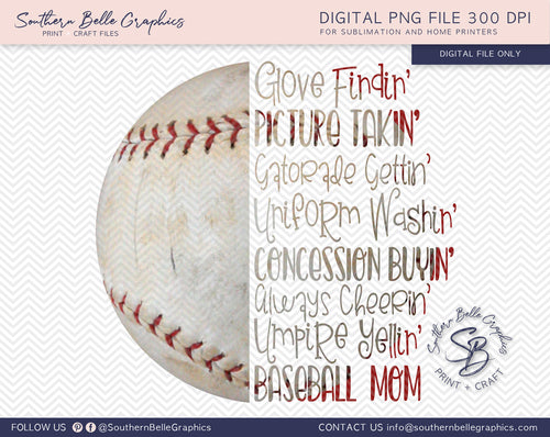 Baseball Mom PNG File