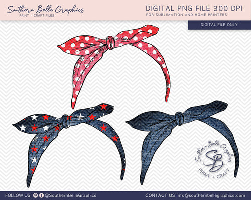 Bandana Hairtie Bundle 2 Hand Drawn PNG File
