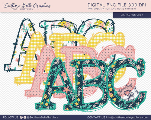 Doodle Alphabet Hand Drawn PNG Files, Garden Bundle