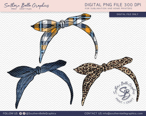Bandana Hairtie Bundle Hand Drawn PNG File