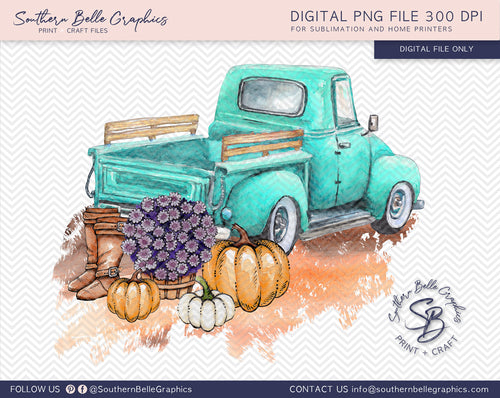 Vintage Turquoise Truck with Pumpkins, Watercolor Pumpkins PNG File