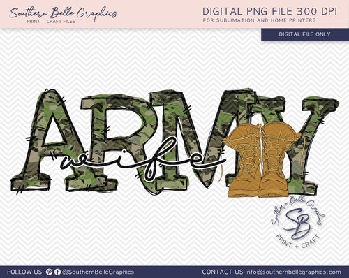 Army Wife Hand Drawn PNG File