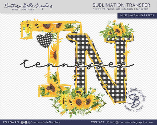 Tennessee Sunflower, TN Doodle Letters Sublimation Transfer