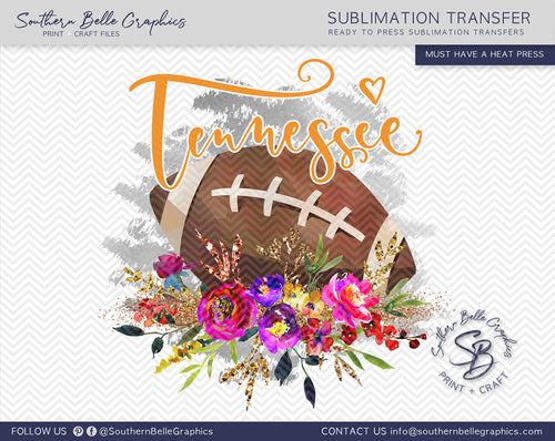 Tennessee Football, Floral Watercolor Sublimation Transfer