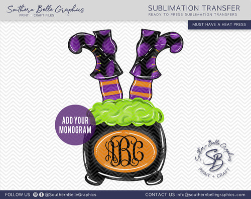 Witch Feet and Cauldron Monogram Frame Sublimation Transfer