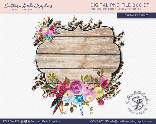 Wooden Floral Leopard Background Clipart PNG