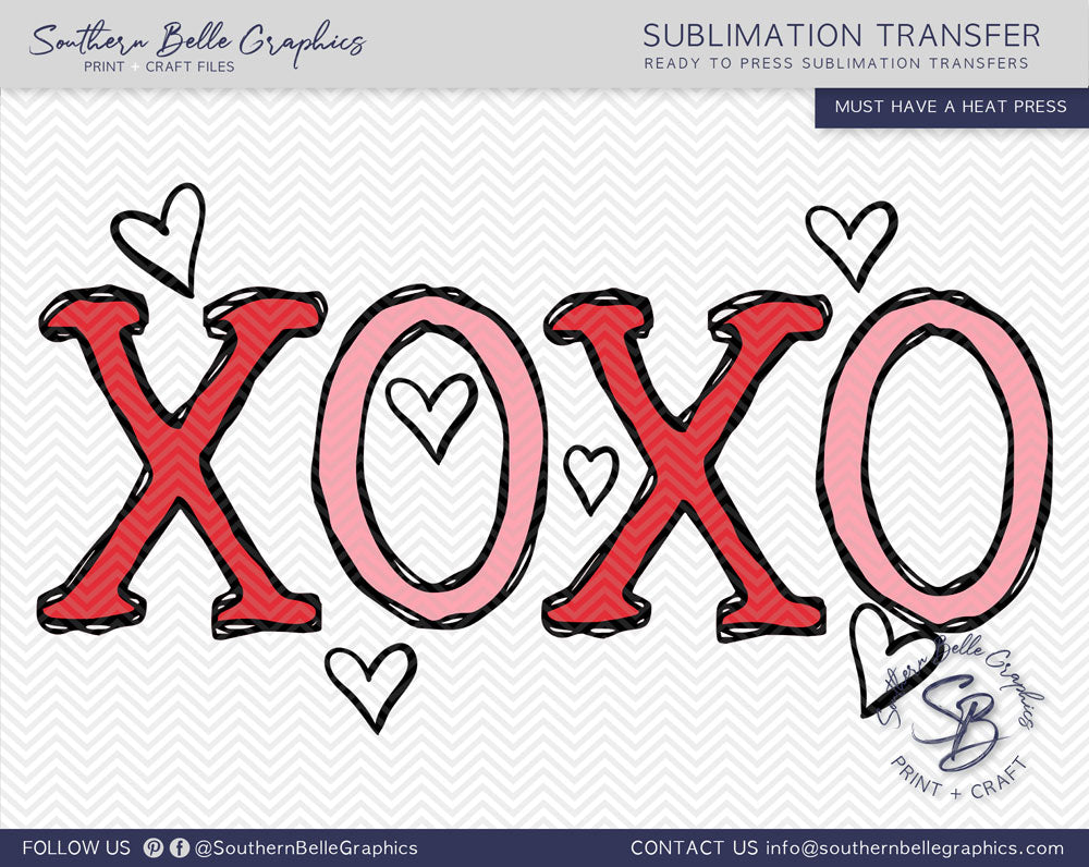 Hugs and Kisses Valentines Hand Drawn Sublimation Transfer