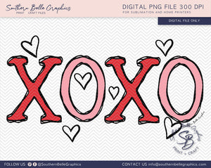 Hugs and Kisses XOXO Valentines Hand Drawn PNG File