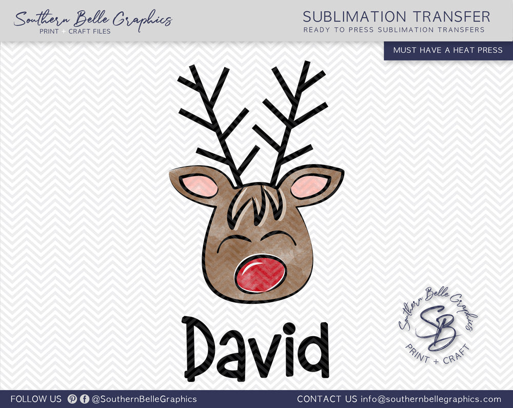 Personalized Christmas Boy Reindeer Sublimation Transfer