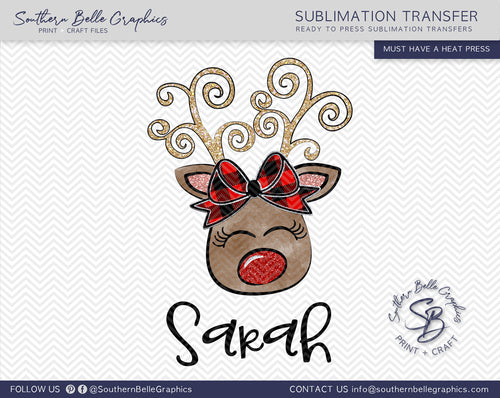 Personalized Christmas Girl Reindeer Sublimation Transfer