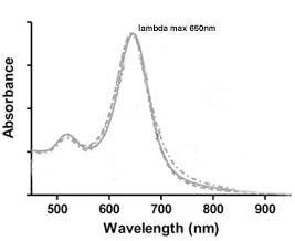 UV-VIS absorption spectrum 650nm Gold NanoRods