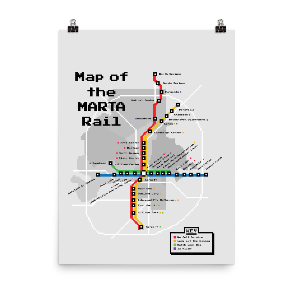 Map of the MARTA Rail Poster