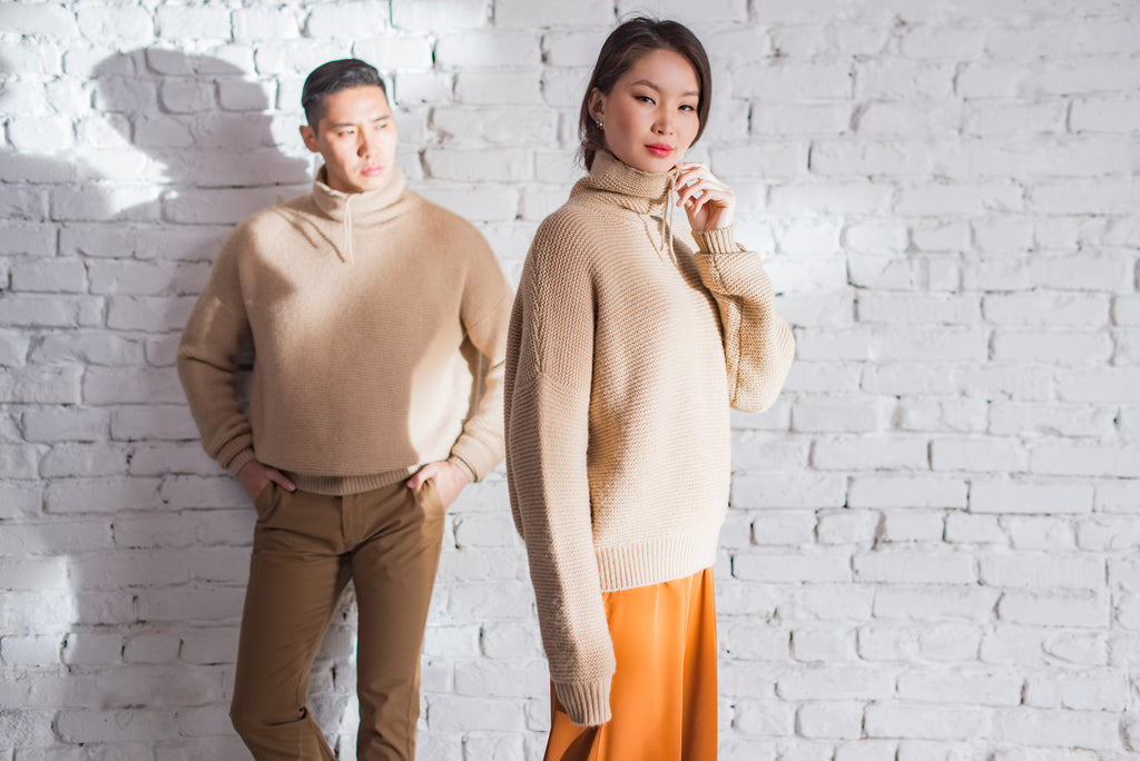 Cowlneck Camel Wool Sweater - made-in-mongolia-cashmere