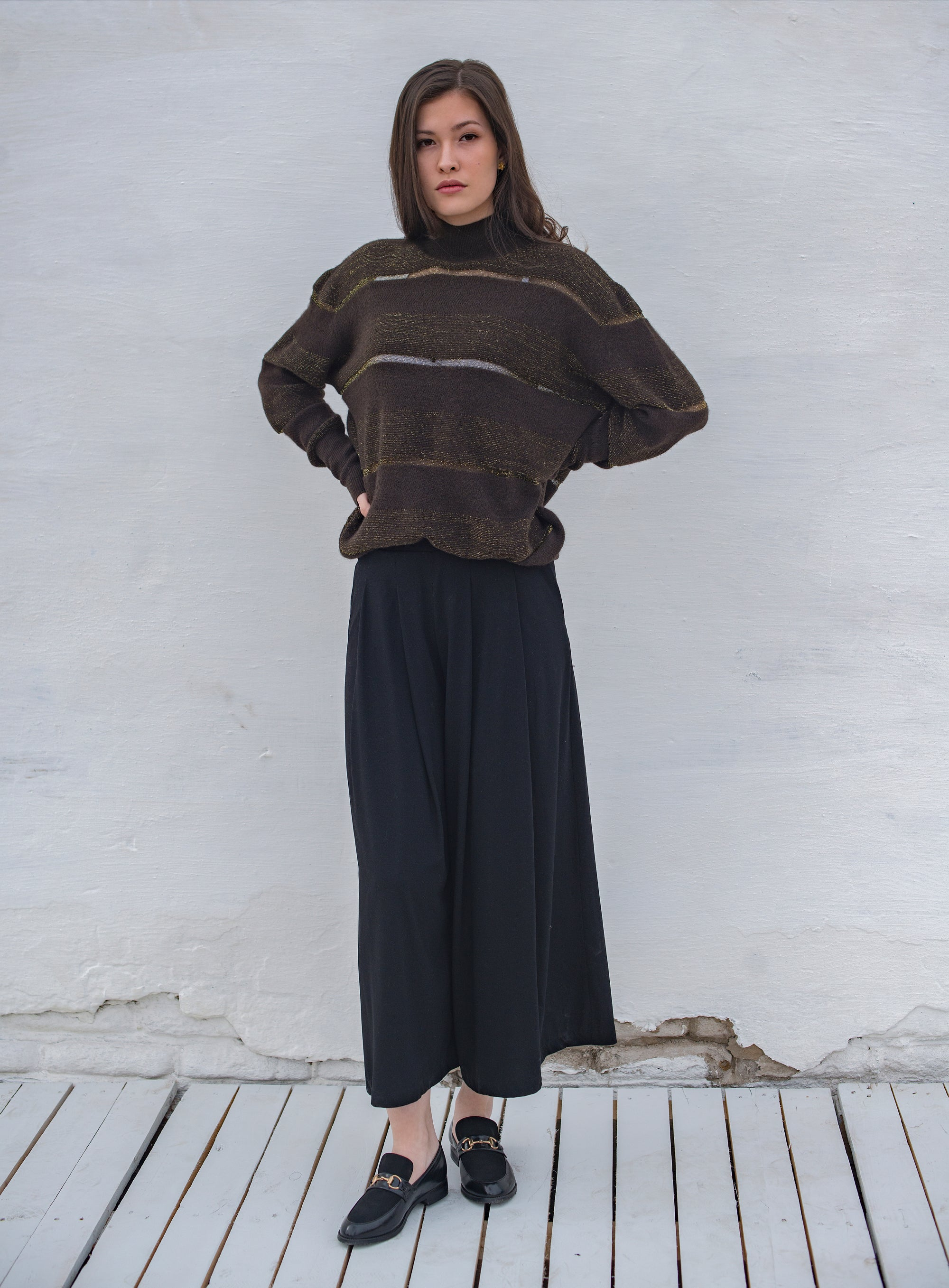 High Neck Sweater with Horizontal Stripes - made-in-mongolia-cashmere