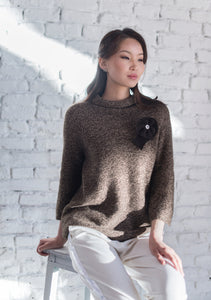 Sweater with Knitted  Flower Decoration - made-in-mongolia-cashmere