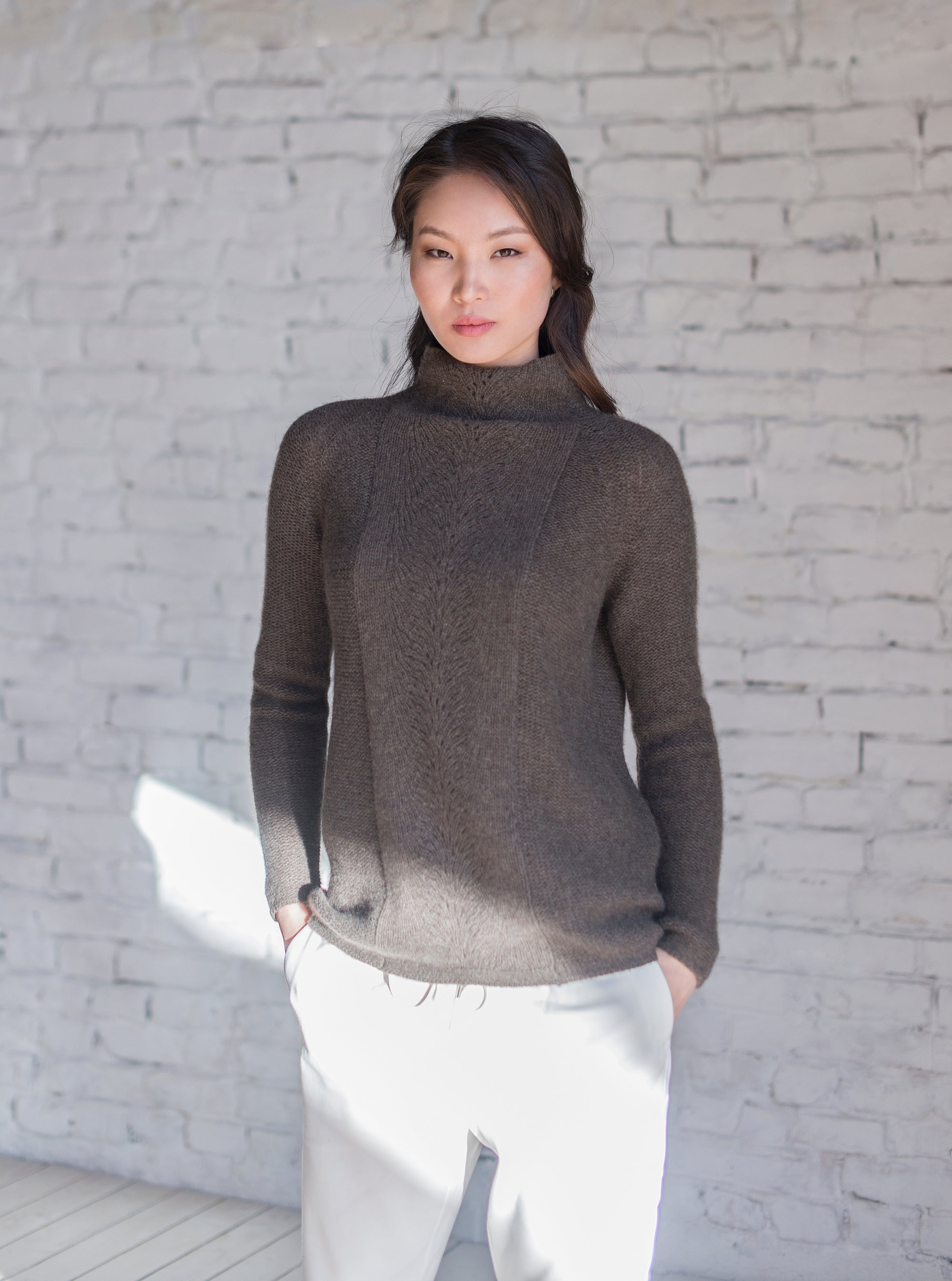 High Neck Sweater with Lace Knit Decoration - made-in-mongolia-cashmere