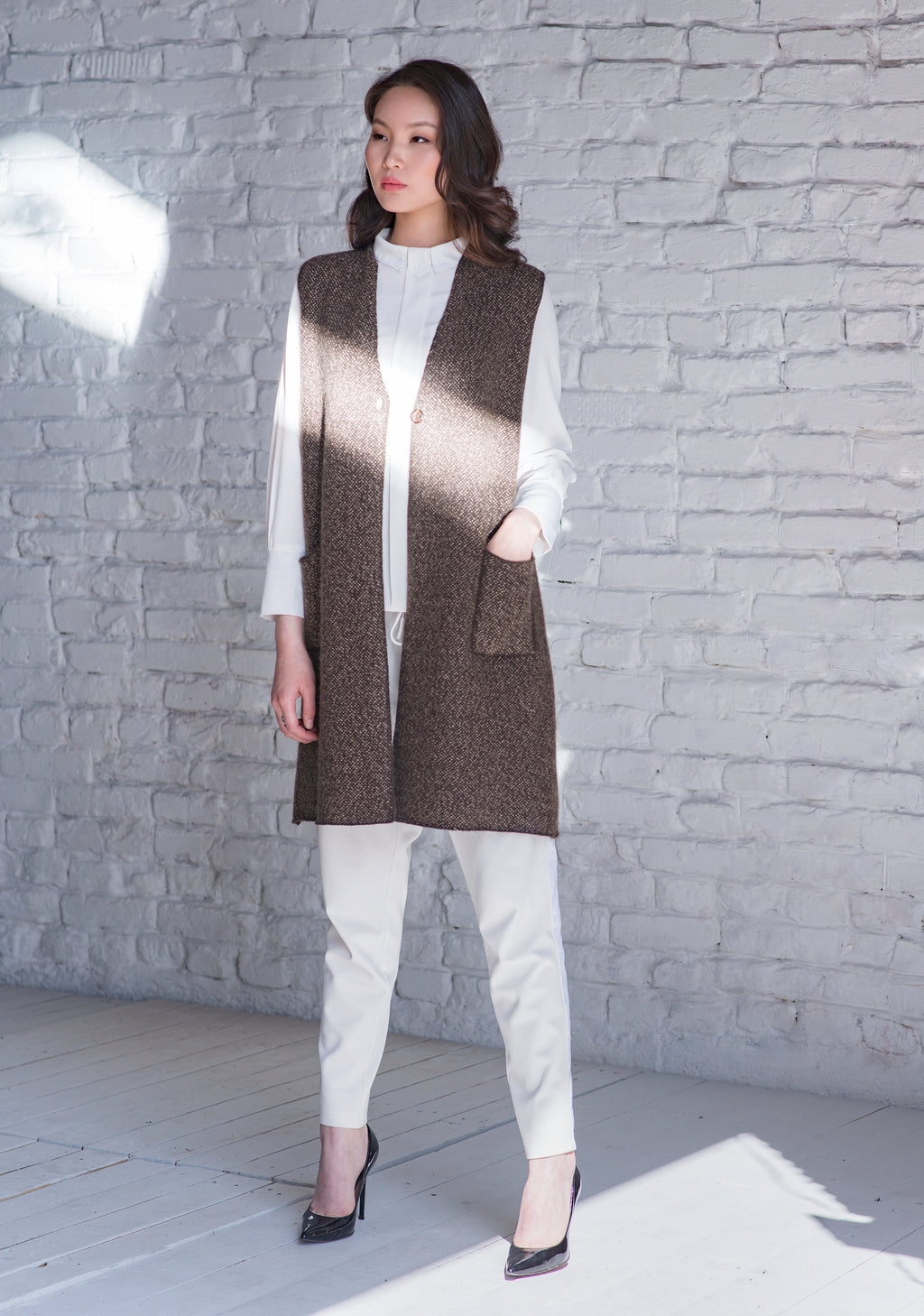 Vest with Low V Neck - made-in-mongolia-cashmere