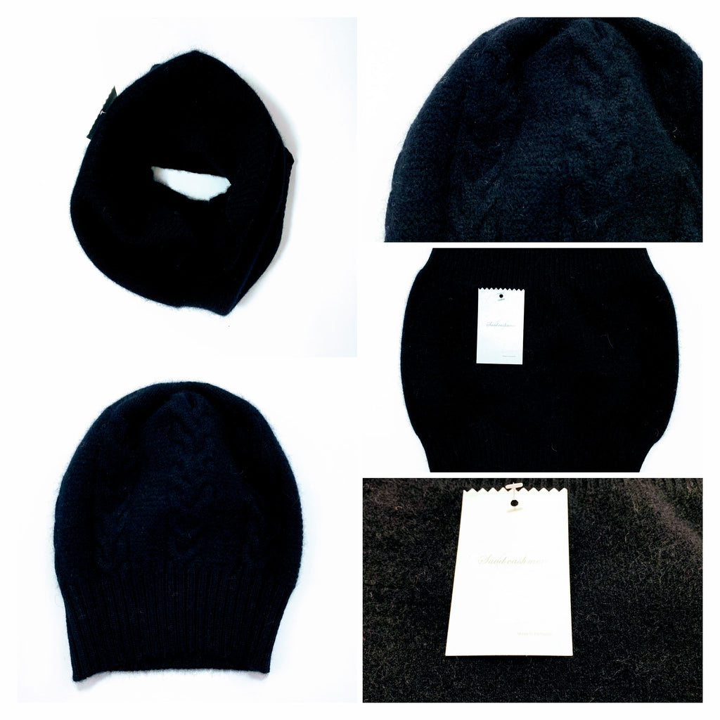 Women's Black Neck warmer and Beanie Hat - 100% Pure Mongolian Cashmere