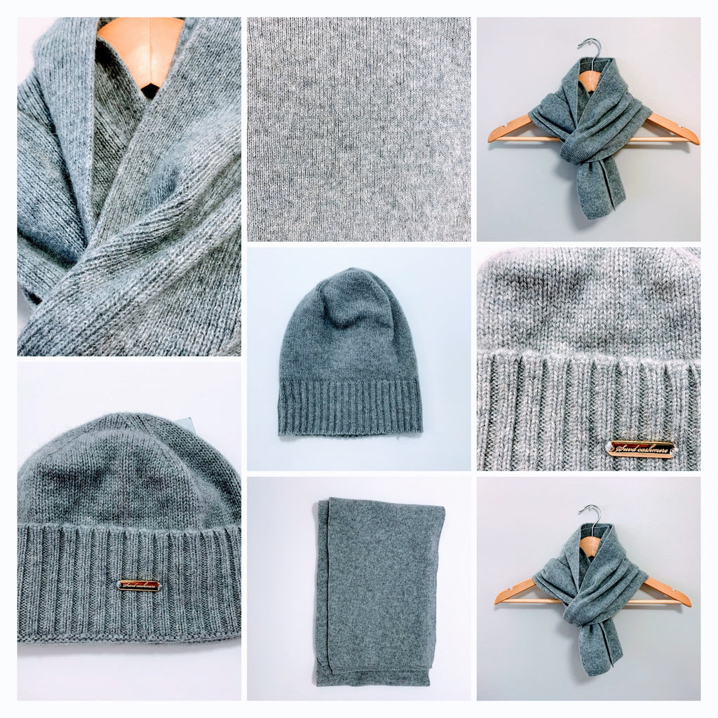 Men's Grey Scarf and Beanie Hat - 100% Pure Mongolian Cashmere