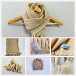 Women's Beige Scarf and Hat - 100% Pure Mongolian Cashmere