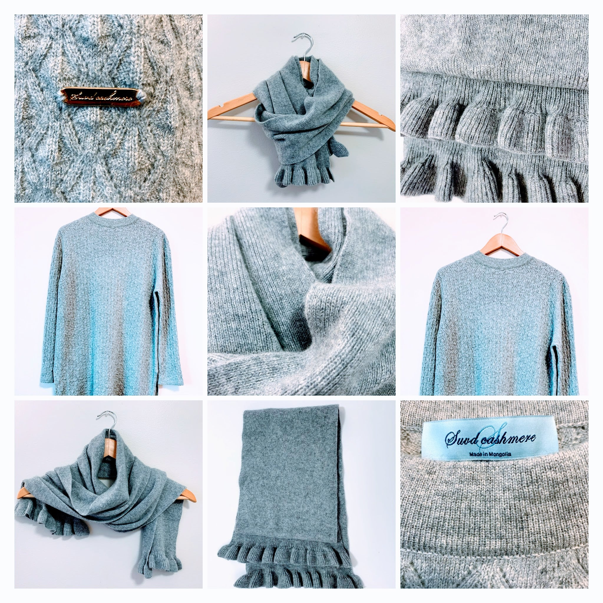 Women's Grey Tunic Sweater and Scarf - 100% Pure Mongolian Cashmere
