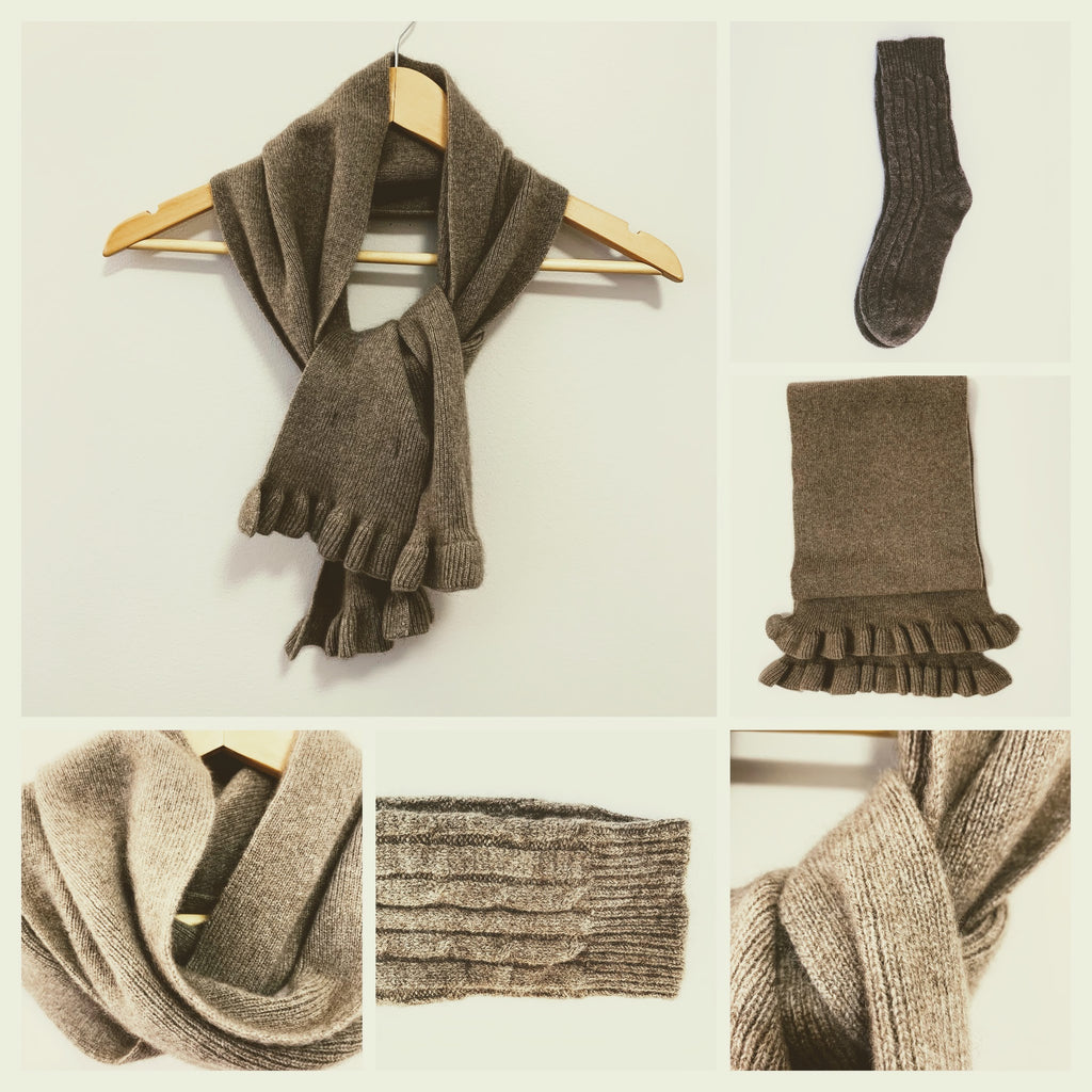 Women's Scarf and Socks - 100% Pure Mongolian Cashmere