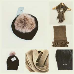 Women's Mud Brown Scarf and Black Hat with Pom Pom - 100% Pure Mongolian Cashmere