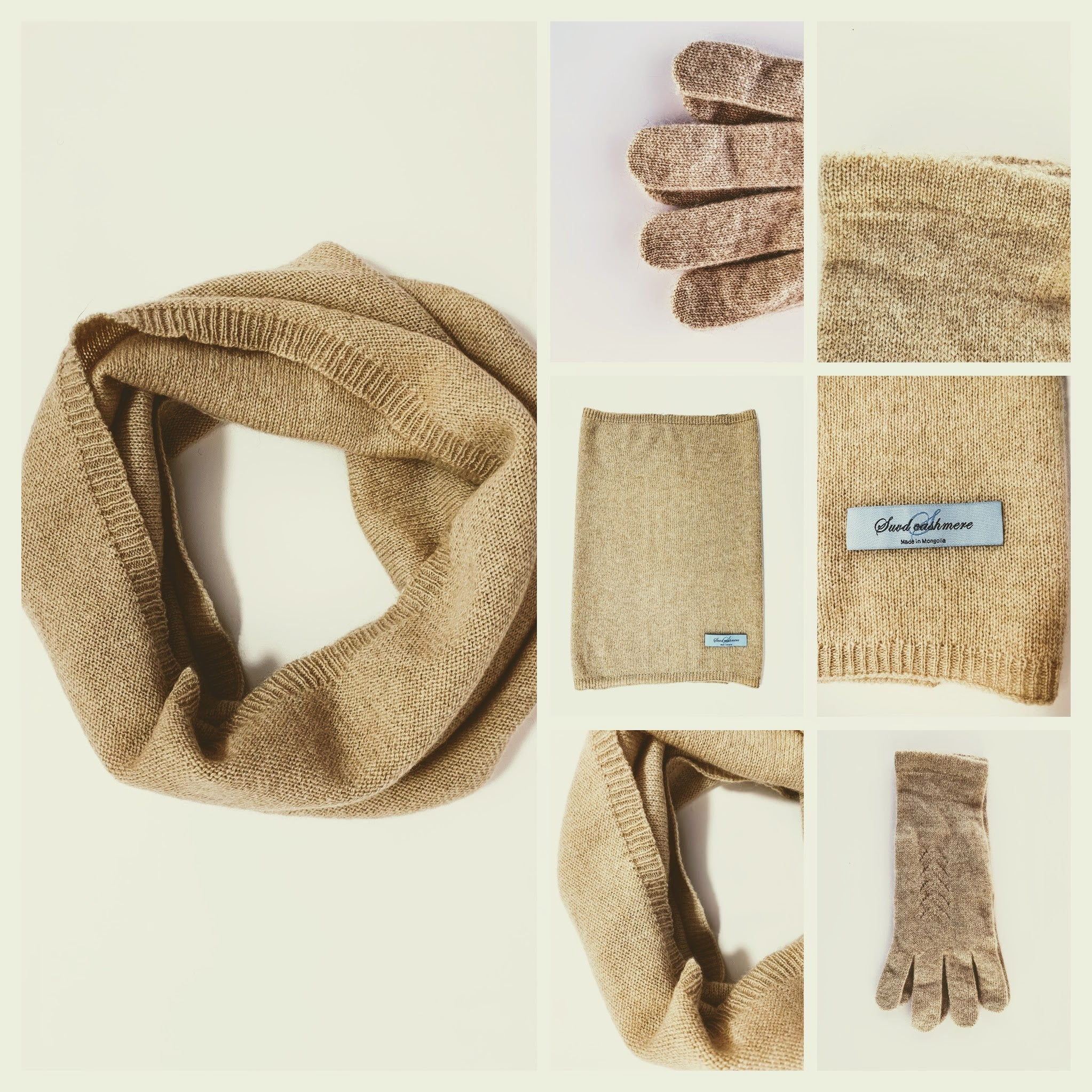 Women's Thin Neck Warmer and Gloves - 100% Pure Mongolian Cashmere