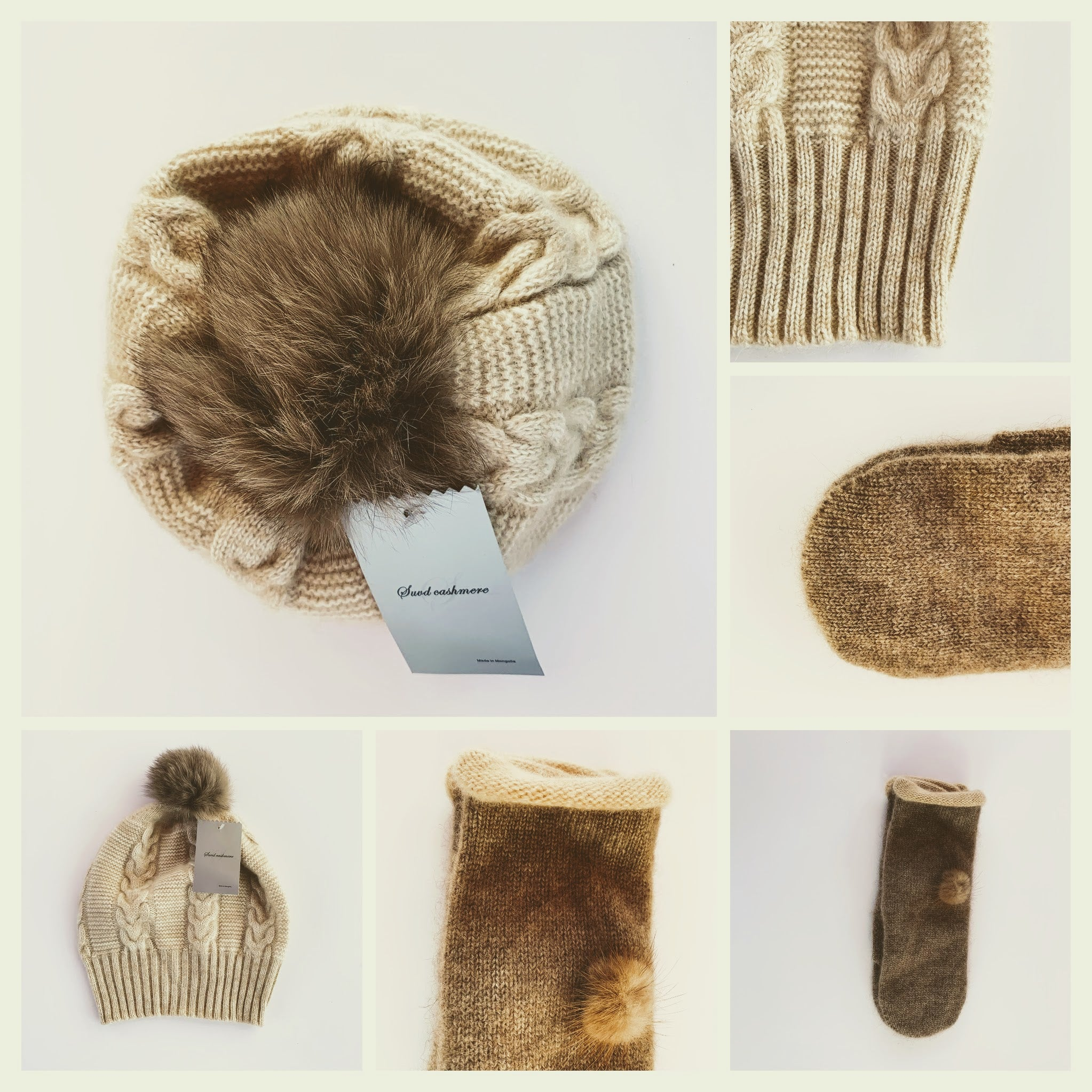 Women's Beanie Hat and Mittens - 100% Pure Mongolian Cashmere