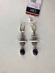 Ethnic Silver Earrings - made-in-mongolia-cashmere