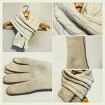 Women's Ivory Color Scarf and Gloves - 100% Mongolian Sheep Wool