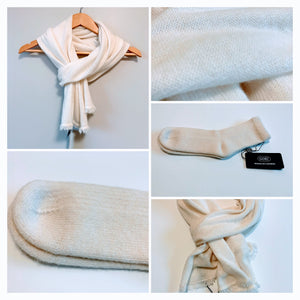 Women's Ivory Color Scarf and Socks - 100% Pure Mongolian Cashmere