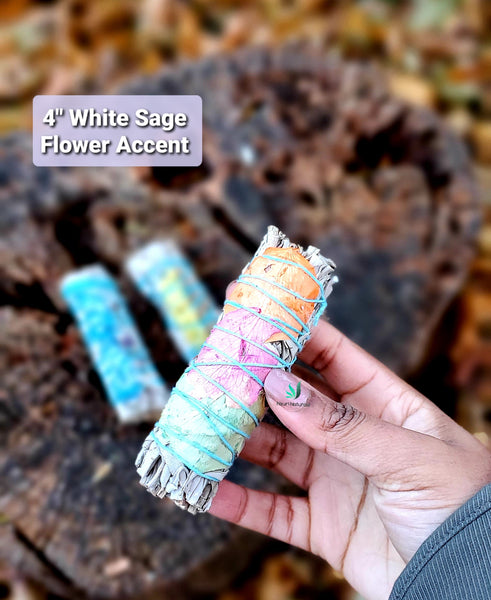 "4"" White Sage Flower Accent"