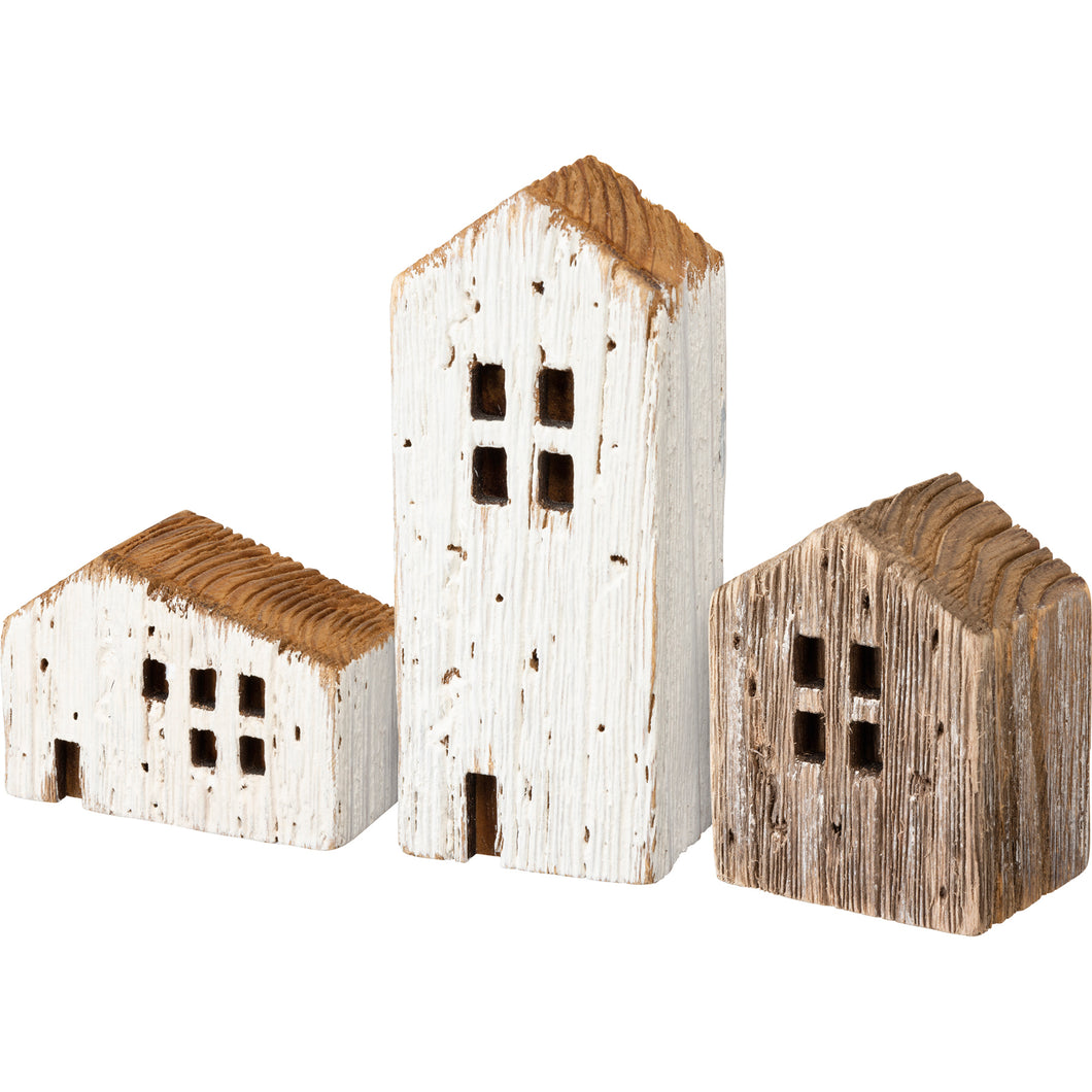 Set of 3 Rustic Wooden Houses for Home Decor