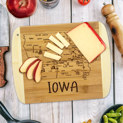 A Slice of Life Iowa Bamboo Serving and Cutting Board