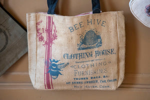 Bee Hive Clothing House Burlap Tote Bag