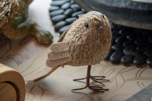 Burlap birds home decor