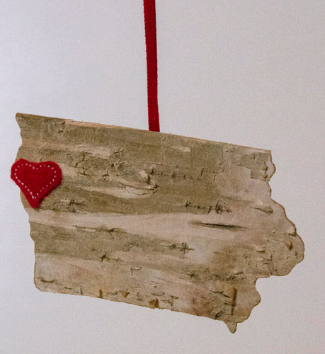 Iowa Birch Ornament with a Burdundy Heart on Sioux City