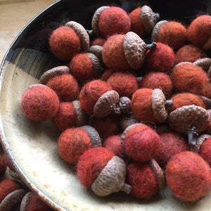 Hand-felted Acorns for Fall Home Decor
