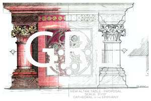 Hand Colored Drawing of the Altar at the Sioux City Cathedral of the Epiphany Wall Art